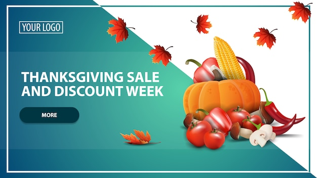Thanksgiving verkoop en korting week, korting web banner sjabloon