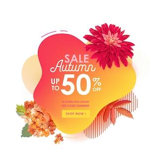 Thanksgiving verkoop korting concept sjabloon voor spandoek, vloeibare abstracte zeepbel met herfst bloemen vectorillustratie. promo-badge voor seizoensaanbieding, promotie, reclame voor web, ui, voucher
