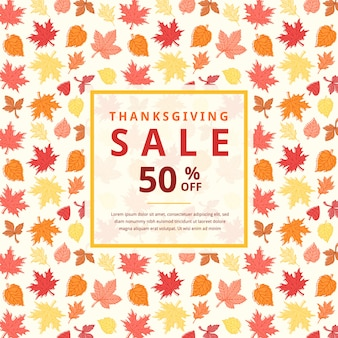 Thanksgiving verkoop op herfstbladeren achtergrond