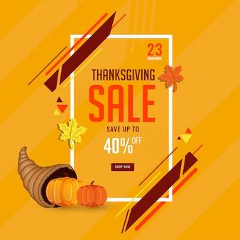 Thanksgiving-verkoopsjabloon of flyer met 40% kortingsaanbieding.