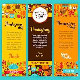 Thanksgiving verticale folders. vectorillustratie van merkidentiteit. herfst seizoen concept.