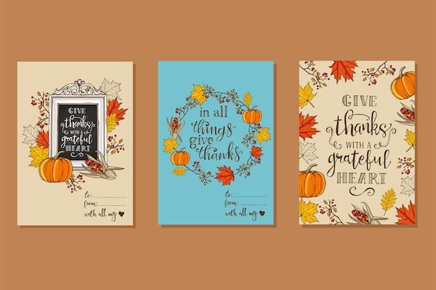 Thanksgiving vintage kaart. esdoorn- en eikenbladeren, takken en bessen, pompoen, maïs, belettering