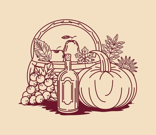 Thanksgiving-voedsellijnstijl