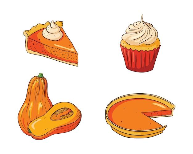 Thanksgiving-voedselset. verse rijpe pompoenen en pompoentaarten. collectie van herfstvakantie pompoengerechten voor stickers, prenten, uitnodigingen, menu's en wenskaarten ontwerp en decoratie. premium vector