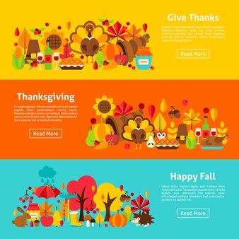 Thanksgiving web horizontale banners. vectorillustratie van herfst concept.