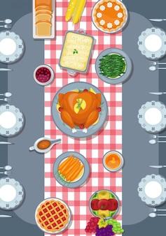 Thanksgiving-wenskaart in vlakke stijl ontwerp
