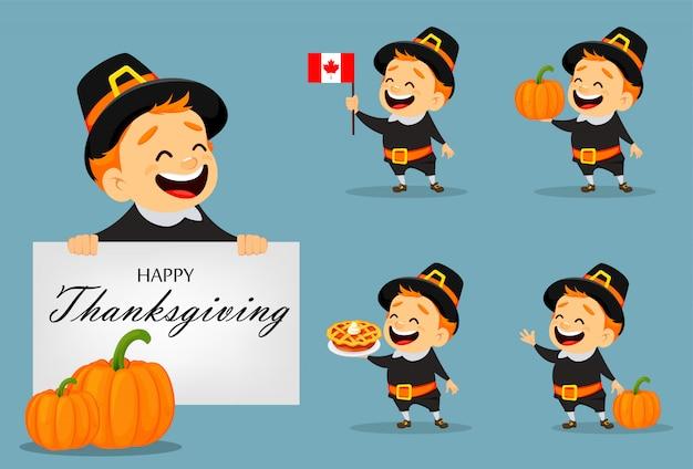Thanksgiving wenskaart met canadese man