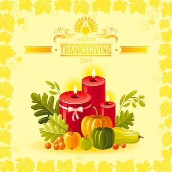 Thanksgiving wenskaart met kaarsen decoratie, pompoen en wijngaard bladeren frame.