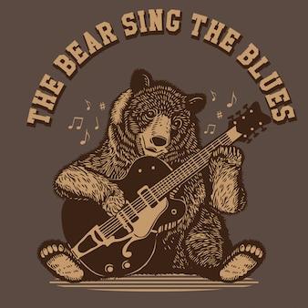 The bear sing the blues gitaar spelen