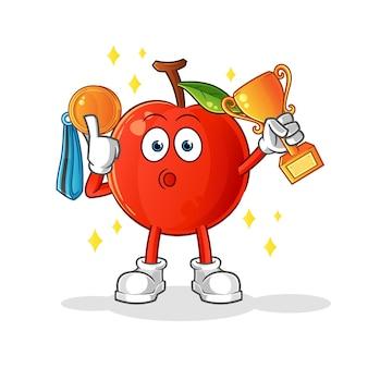 The cherry winnaar met trofee en medaille. tekenfilm