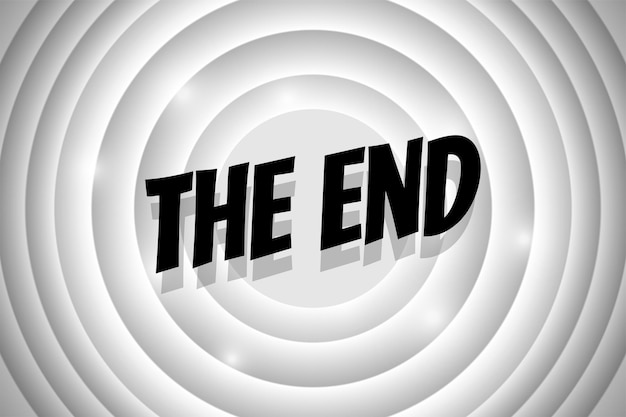 The end komische stijl tekst op witte cirkel retro bioscoopscherm. zwarte titel op oude stille film die op de achtergrond eindigt. promotie bericht noir banner. vector illustratie