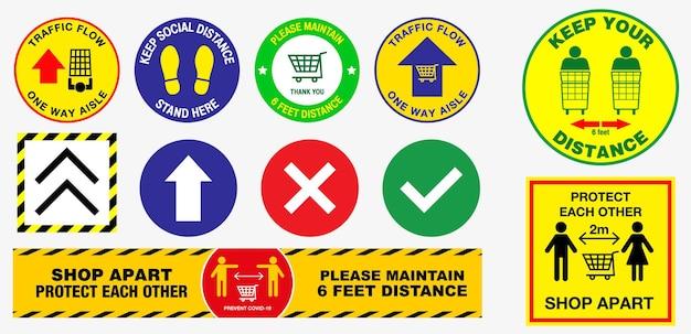 The floor social distancing stickers of volksgezondheidspraktijken voor covid19 of gezondheid en veiligheid