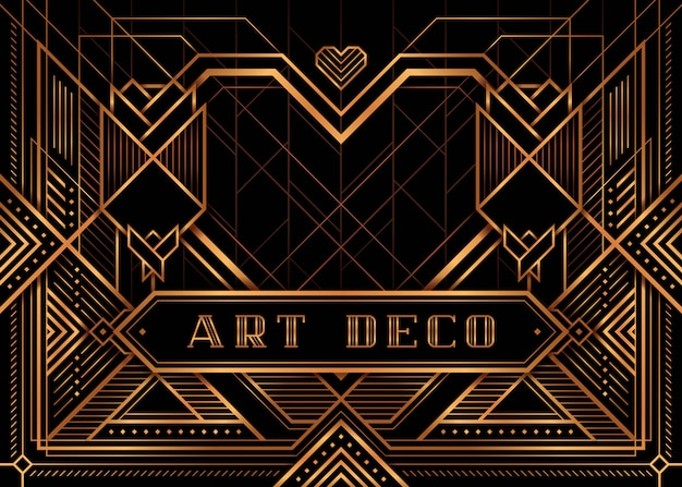 The great gatsby deco style vector, golden roses and heart