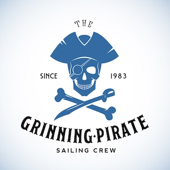 The grinning pirate sailing crew abstract retro logo template of vintage label met typografie