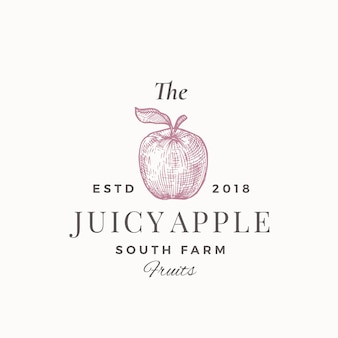 The juicy apple south farm fruits. abstract teken, symbool of logo sjabloon. appel met blad sillhouette schets met elegante retro typografie. vintage luxe embleem.