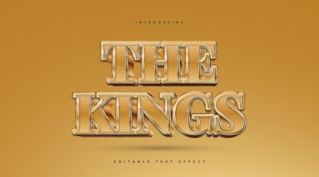 The kings-tekst in gouden stijl met getextureerd effect