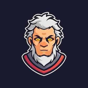 The old man mascot e-sports logo character