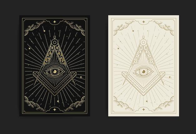 The square, compasses dan allseeing eye met gravure, handgetekend, luxe, esoterisch, boho-stijl, geschikt voor spiritualist, tarotkaart, astrologie of tatoeage