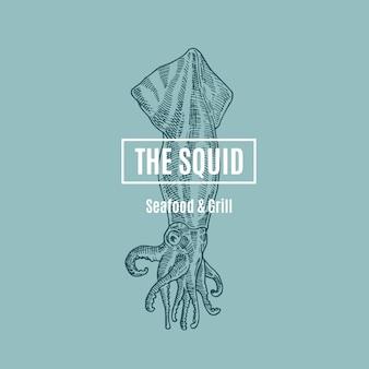 The squid seafood and grill. abstract teken, symbool of logo sjabloon. hand getrokken inktvis illustratie met stijlvolle retro typografie. premium kwaliteit vintage embleem. geïsoleerd.