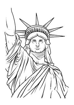 The statue of liberty hand getrokken
