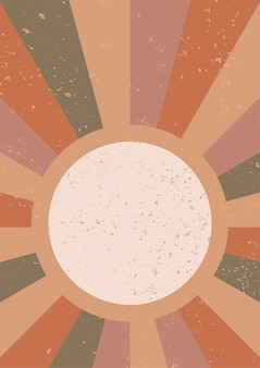 The sun minimalistische geometrische kunst aan de muur abstract landschap boho esthetische interieur muur print