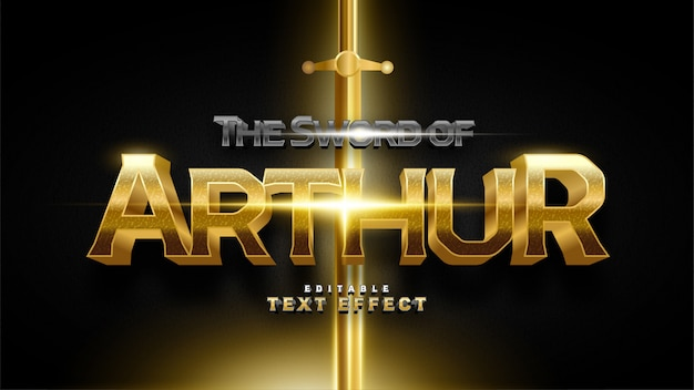 The sword of arthur text effect