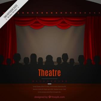 Theater achtergrond met silhouetten