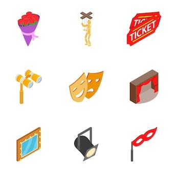 Theater acteerprestaties pictogrammen instellen