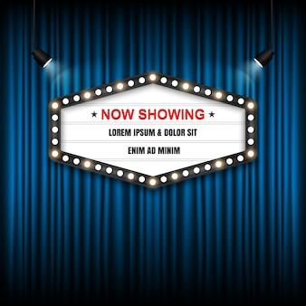 Theater bioscoop teken op blauw gordijn