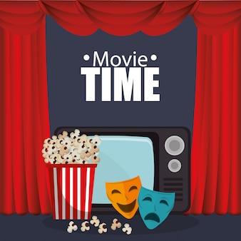 Theater courtain met bioscoopiconen