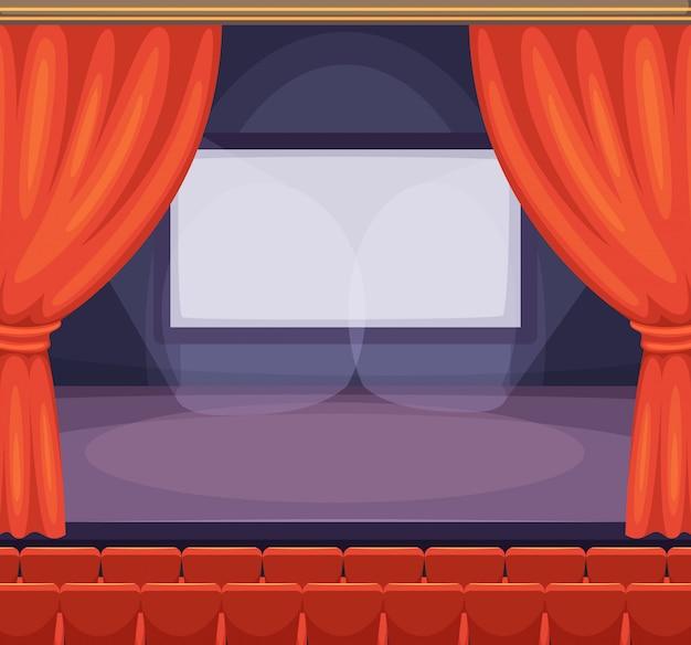 Theater- of bioscoopstadium met rode gordijnen. vector achtergrond in cartoon stijl