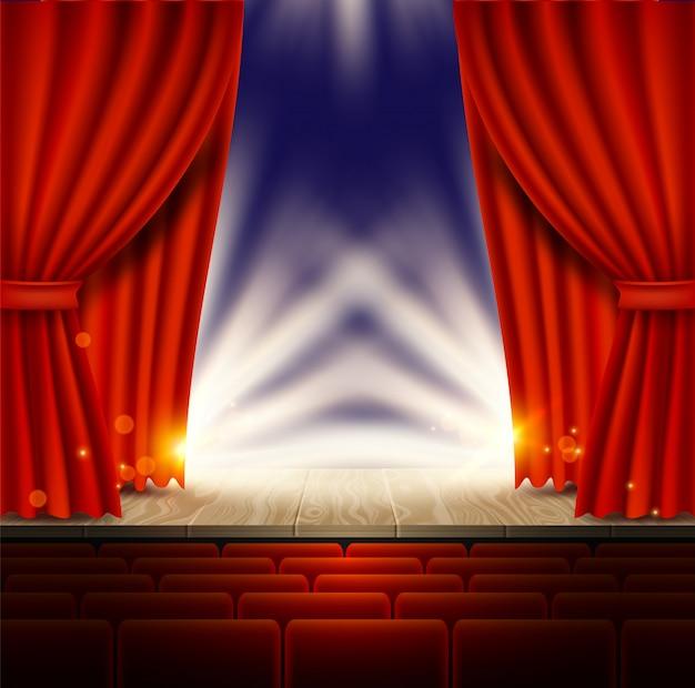 Theater-, opera- of bioscoopscène met rode gordijnen