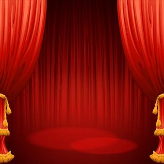 Theater podium met rood gordijn. illustratie