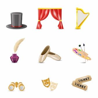 Theater realistische pictogrammen
