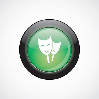 Theater teken pictogram groene glanzende knop. ui website knop