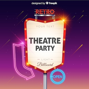 Theaterfeest retro licht reclamebord Gratis Vector