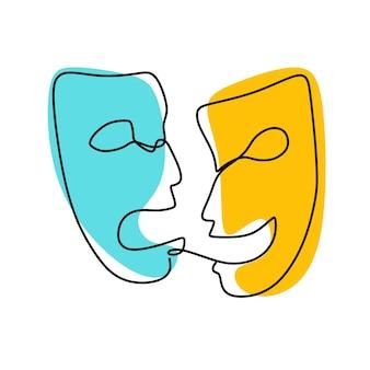 Theatermasker tragedie en humor oneline doorlopende lijntekeningen