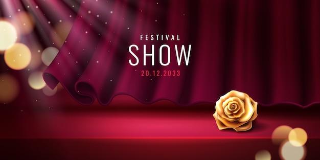 Theaterpodium en rood gordijn voor sjabloon voor spandoek festival