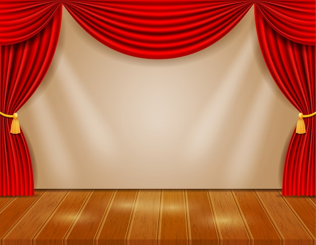 Theaterpodium in de hal met rode gordijnen