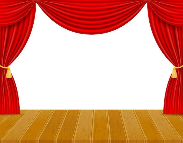 Theaterpodium in de hal met rode gordijnenillustratie die op witte achtergrond wordt geïsoleerd