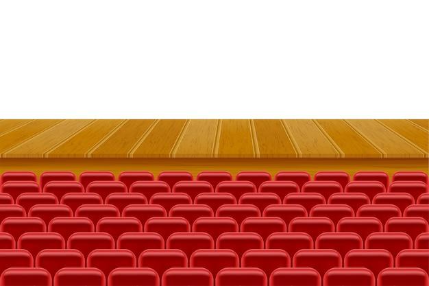 Theaterpodium in de hal met stoelen voor toeschouwersillustratie die op witte achtergrond wordt geïsoleerd