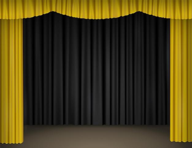 Theaterpodium met open gele gordijnen en zwarte gordijnen op de achtergrond. realistische vectorillustratie van lege scène van theater, opera, bioscoop of circus met fluwelen draperie