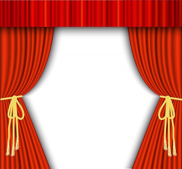 Theaterpodium met rood gordijn.