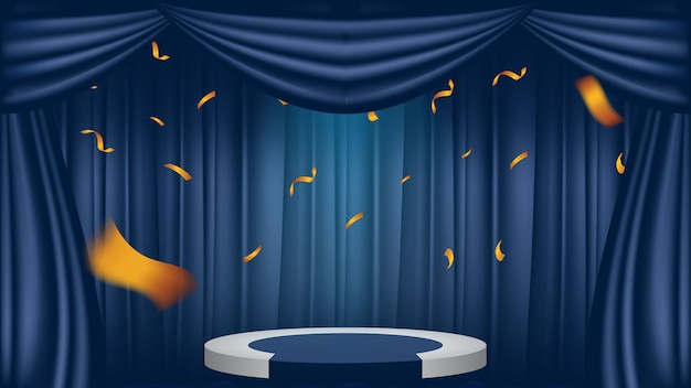 Theaterpodium op blauw gordijn met schijnwerpers en gouden confetti