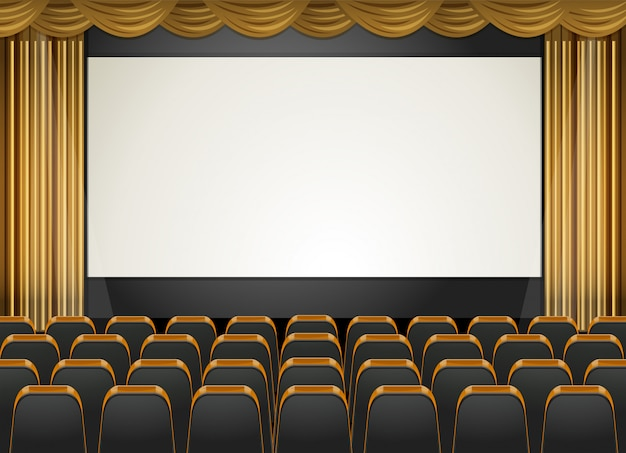 Theaterscène met scherm en stoelen