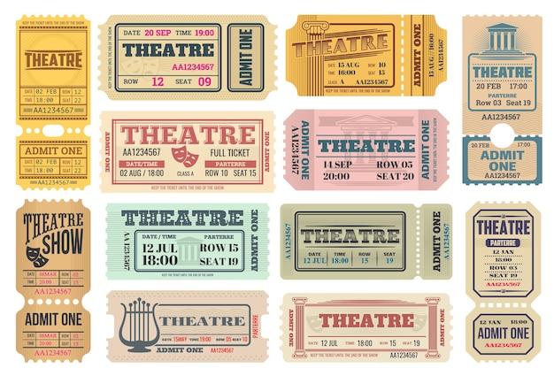 Theatershow, acteursprestaties retro-kaartjes met komedie- en tragediemaskers, lira-muziekinstrument en oude griekse zuilen. toegangspas voor theater, geef toe