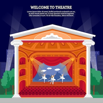 Theateruitvoering playbill platte kleurrijke print
