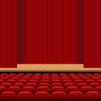 Theaterzaal met rijen van rode zetels, houten stadium en de illustratie van het rood fluweelgordijn