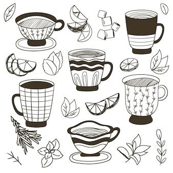 Thee-elementen collectie hand getrokken vector set thee-elementen thee kopjes citroenen munt suiker