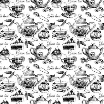 Thee en cake naadloos patroon. hand getrokken schets vectorillustratie. menu ontwerp